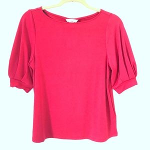 H&M* Red Short Sleeves Pleated Blouse Top SP